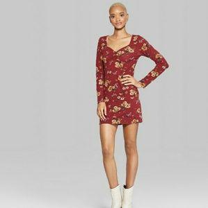 Casual Floral Long Burgundy Sleeve Dress